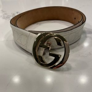 Gucci Ivory and Gold Belt